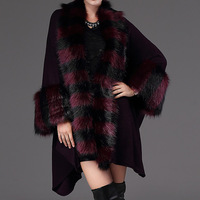 Women Poncho Cape Coat Autumn Winter Casual Loose Knitted Vests Fashion New Ladies Fur Wool Cape Collar Outwear