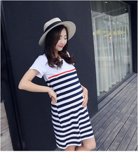 New Women Long Maternity Dresses for Pregnant Women Loose Clothing Maternity Fashion Stripe Home Cotton Mother Clothes Navy Blue