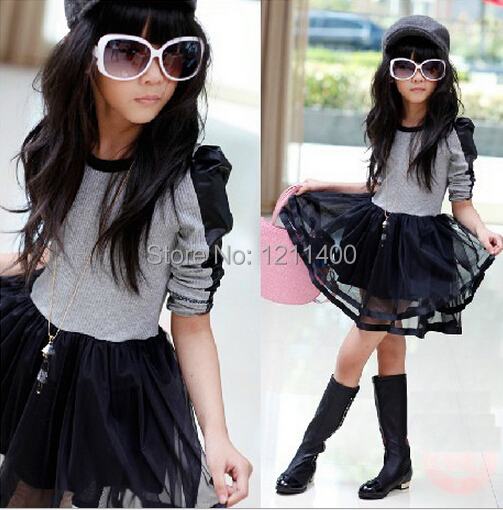 3-6Y, Fashion meisjeskleding PU patchwork geplooid Euramerican stijl - Kinderkleding