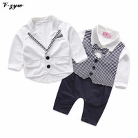 Toddlers Handsome Baby Boy 3 Pcs Set Gentleman Baby Boy Clothes White Coat Striped Romper Vest