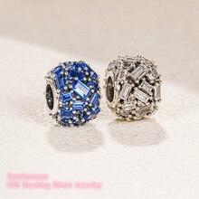 Kış 100% 925 ayar gümüş Chiselled şık çekicilik, mavi ve temizle CZ boncuk Fit orijinal marka Charms bilezik DIY