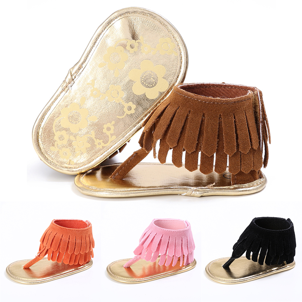 Newborn Baby Girl Shoes Tassel Solid Infant Soft Anti-slip Shoes Toddler Garden Bohemian Style Fashion Summer New D35
