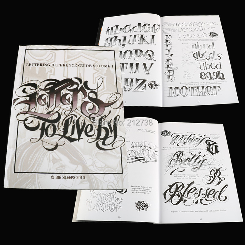 A4 Tattoo Book LETTERS TO LIVE BY VOLUME #1 Design Tattoo Flash Book By Big Sleeps (44-Pages)