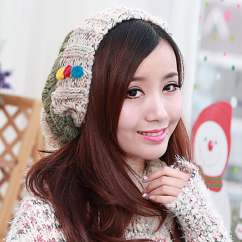 BomHCS CONTRAST Stitching Color New Women Winter 100% Handmade Knitted Beanie Hat Outdoor Cap Fashion Street bomhcs mosaic contrast color women s fashion winter soft warm crochet beanie handmade knitted hat cap