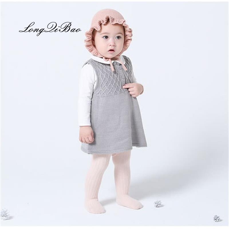 Autumn and winter baby girl cotton dress girls sweater princess dress baby sweater knit 3-6-9 months knit dress все цены