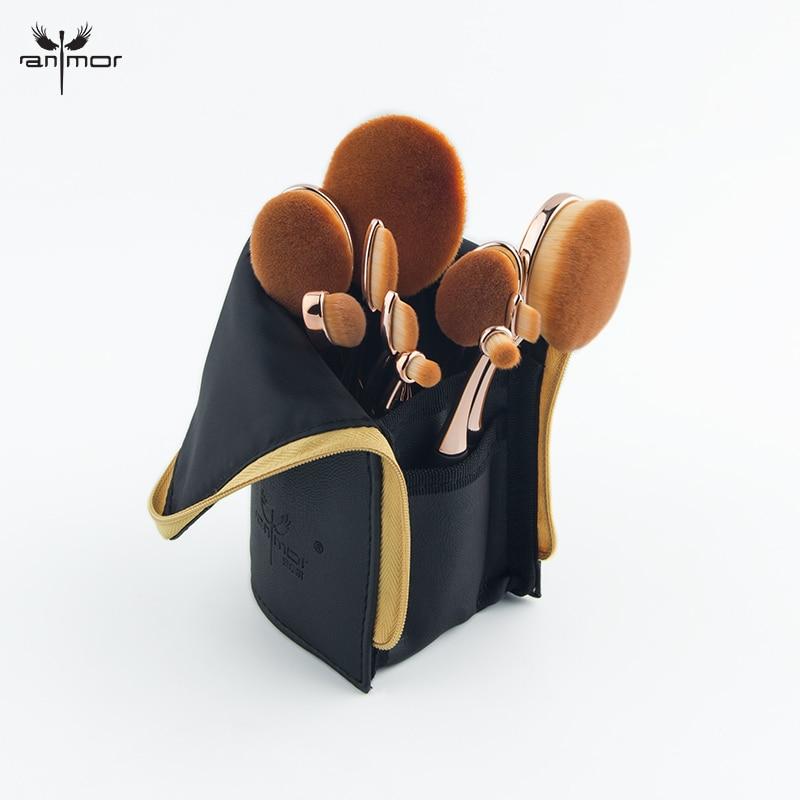 Anmor Professional 10 PCS Rose Gold Oval Makeup Brushes Set Extremely Soft Make Up Foundation Powder Brush Kit with Black Bag