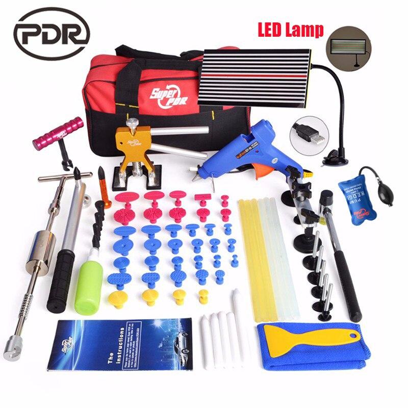 PDR Outils Kit Débosselage sans peinture Débosselage Voiture Outils De Réparation Dent Extracteur LED Lampe Réflecteur Conseil Main Tool Set