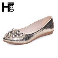 Bling Bling Crystal Women S Ballet Flats Shoes Pointed Toe Gold Silver Solid Color Shallow Slip