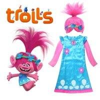 Trolls Poppy Cosplay Costume Kids Trolls Dress Pink Wig Princess Poppy Cosplay Outfit Halloween Party Fancy