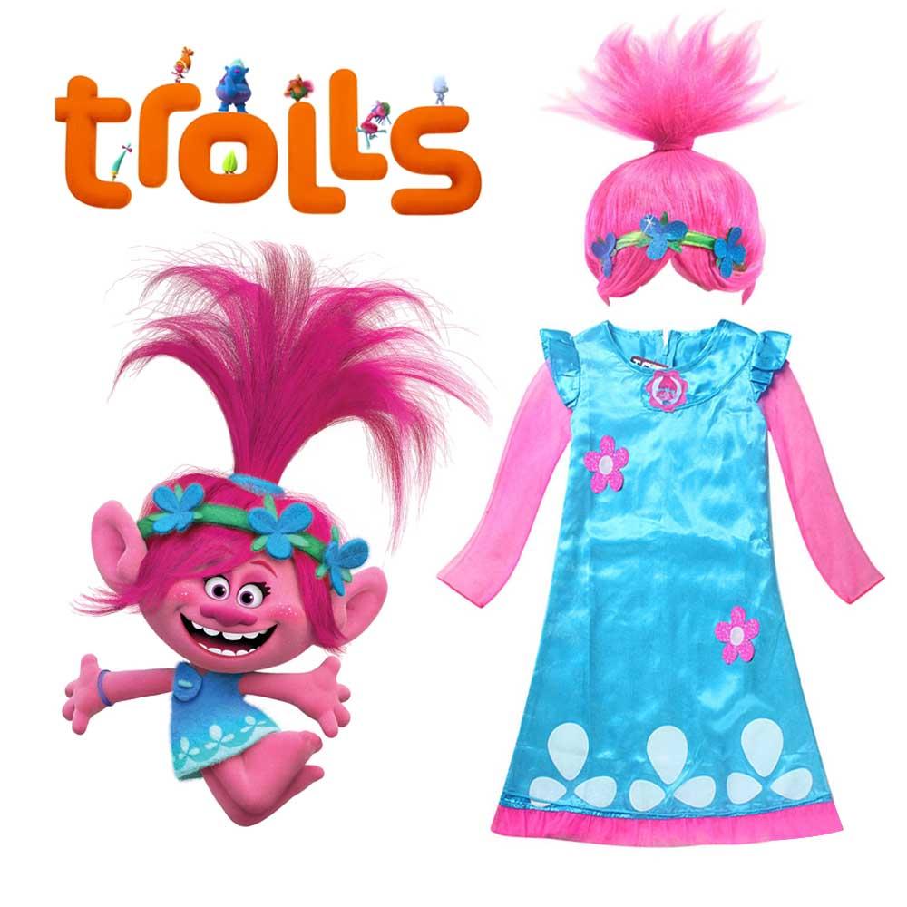 Parrucca Cosplay Bambini Trolls Rosa Vestito Costume Papavero PxYnF0w
