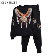 Women Knitted Sweaters Pants 2PCS Track Suits Woman Casual Beading Eagle Trousers+Jumper Tops Clothing Sets Vestidos