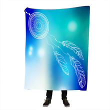 Watercolor Mandala Blanket Hippie Feathers Sherpa Flannel Fleece Reversible Blankets Bed Couch Fluffy Bedding