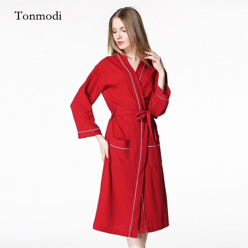 Robe pour femmes printemps amoureux gaufre peignoirs 100% coton robe femmes salon Robe mince