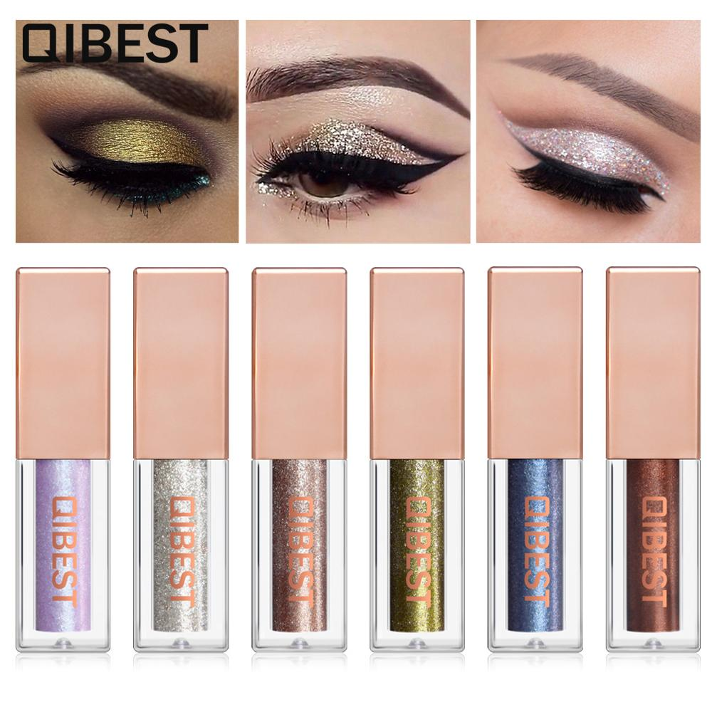 Qibest Hot 15 Single Color Diamond Pearlescent Liquid Eye Shadow Shimmer Glitter Eyeshadow Highlighter Makeup Cosmetic Tools