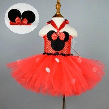 בנות מיני טוטו שמלת תינוקת הראשונה יום הולדת תלבושות מפלגה טוטו שמלות עכבר אוזניים בגימור תלבושת 4 צבע אפשרויות