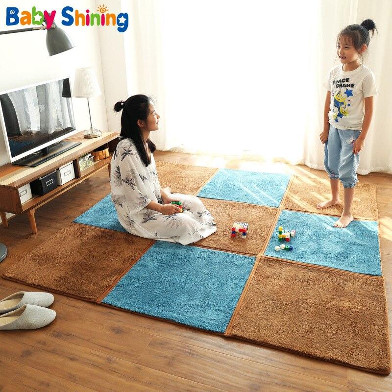 Bébé brillant 1.5 CM épaisseur tapis de jeu pliable tufté tapis 130X195 CM bébé tapis de jeu enfants chambre tapis antidérapant lavable en Machine - 2