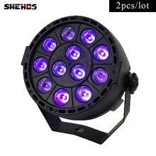 цена на 2pcs/lot LED Flat Par 12x3W Ultraviolet Color Lighting LED Stage Light Par With DMX512 for disco DJ projecto Party Decoration