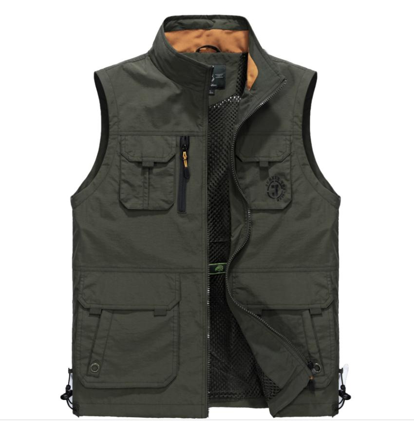 New Colete Masculino Male Summer Autumn Breathable Waistcoas Multipockets Aterproof Photographer Vest Men Sleeeless Jacket J3008