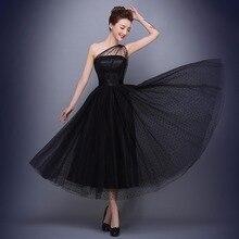 Venta caliente de Un Hombro Negro Vestidos de Noche 2017 de Los Plisados Vestido de Té de longitud Vestidos de Noche Formales De Noche Vestido de Fiesta barato