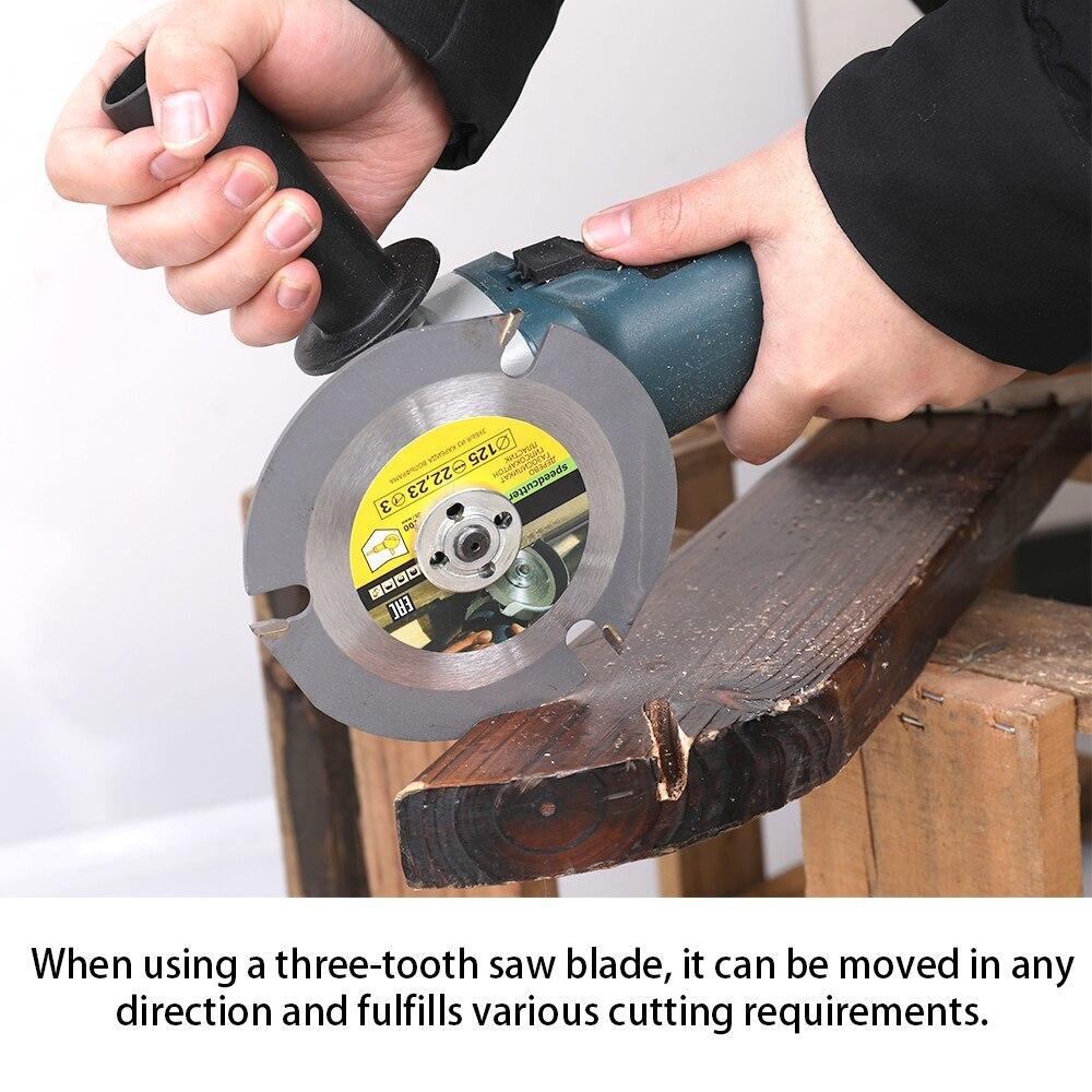 125mm 3 Teeth Saw Disc Carbide Tipped Circular Saw Blade Grinding Machine Grinder  Wood Cutting Blade Power Tool Accessories