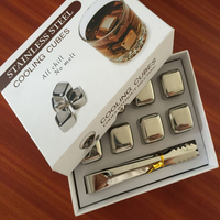 8 Pcs/Lot Cube Whiskey Stones 27mm 304 Stainless Steel With Clip Rock Wine Beer Ice Stone Bar Christmas Gift Cooler Gift Box