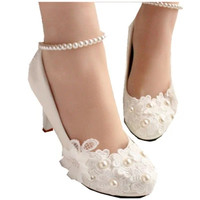 Wedding Shoes For Women New Design Ivory Lace Low High Heels Flowers Pearls Anklet Woman Bridal