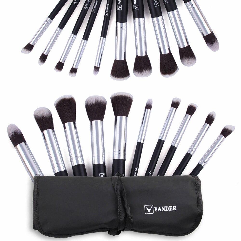 (10 pieces/set) Professional Vander Makeup Brush Sets Foundation Makeup Brushes Cosmetics Powder Kabuki Tools Kits Black Silver