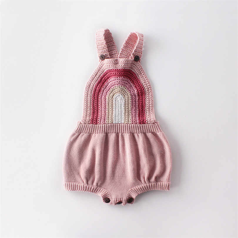 Bayi Bayi Gadis Baju Monyet Sleeveless Rainbow Rajutan Pakaian Bayi Onesie Kapas Bayi Balita Jumpsuit untuk Anak Perempuan Overall