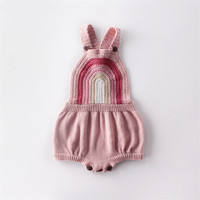 Newborn Baby Girls Romper Sleeveless Rainbow Knitted Baby Girl Clothes Onesie Cotton Infant Toddler Jumpsuit For Girls Overalls|Rompers| |  -