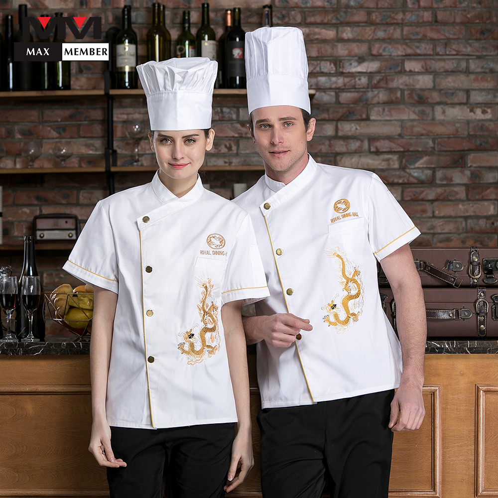 2019 High Quality Unisex Men And Women Cook Short Sleeved Restaurant Food Chef Uniforms Overalls Kitchen Cook Clothes Workwear