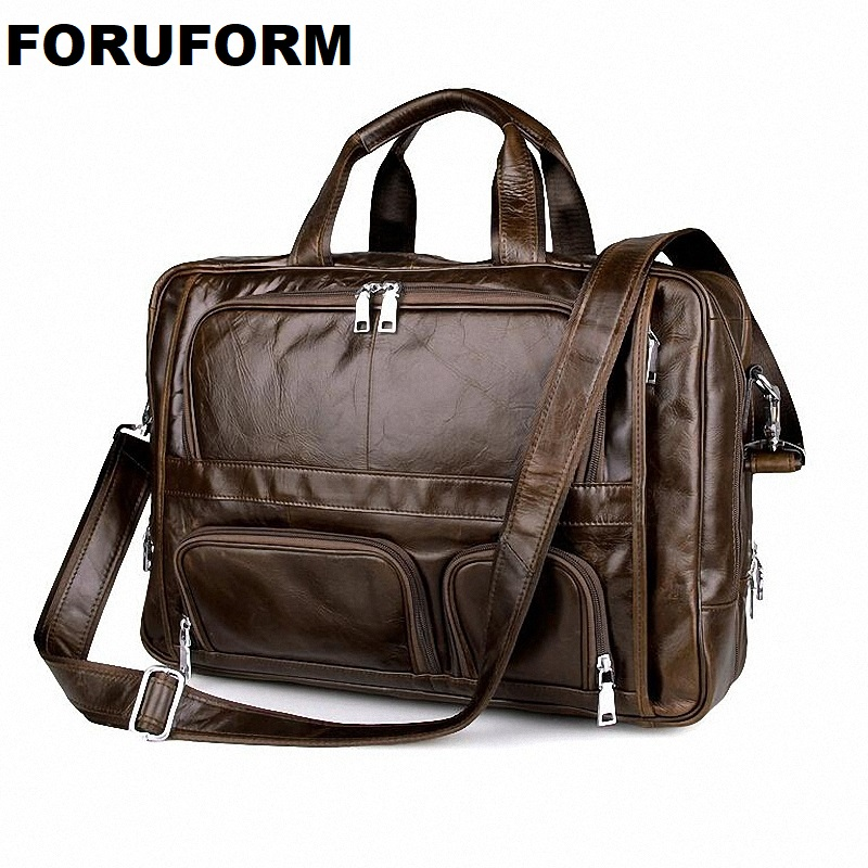 Luxury Genuine Leather Men's Briefcases Business Bag Leather Messenger Bag Shoulder Bag For Men 17 Inch Laptop Briefcase LI-897