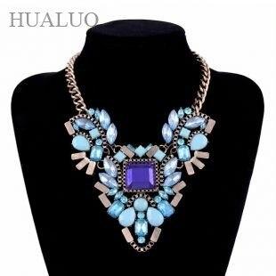 Luxury Chunky Statement Rose/Pink/Blue Square Shape Rhinestone Choker Necklace Fashion Women Dress  88N1696 88N1698