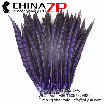 CHINAZP Feathersy 30 to 35cm  Excellent Purple Dyed Lady Amherst Pheasant Feathers for for Hair and Festival Decoration