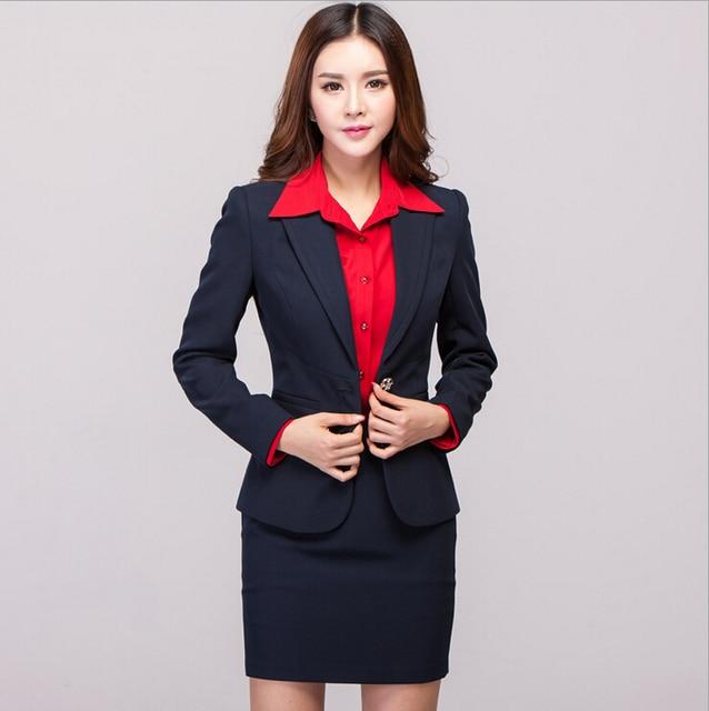 New Elegant Plus Size XXXL 2015 Femininos Fashion Slim Professional Business Suits With Skirt And Jacket Beautician Uniforms Set