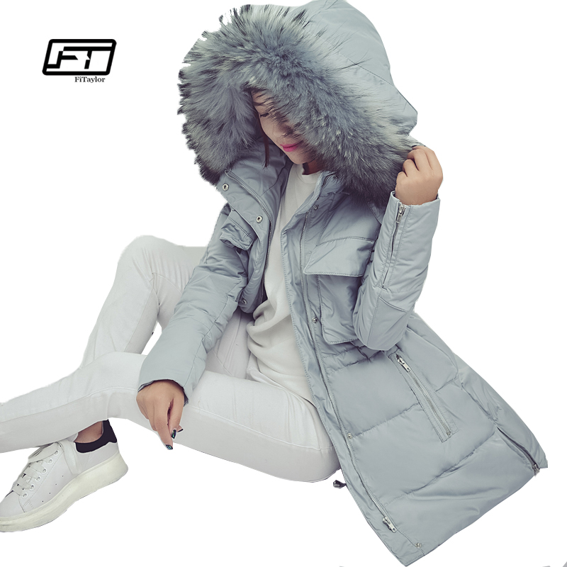 Fitaylor Winter Women Jacket Medium Long Hooded Parkas Thickness Large Raccoon Fur Collar Duck Down Coat Female Snow Outerwear
