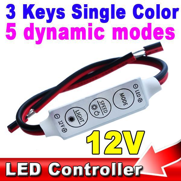 Mini 72W LED Controller Dimmer 12V 6A 3 Keys 5 Dynamic Mode Car SMD 5050 3528 Lamp Tape Sinlge Color Strip Light Driver - KBT Technology store