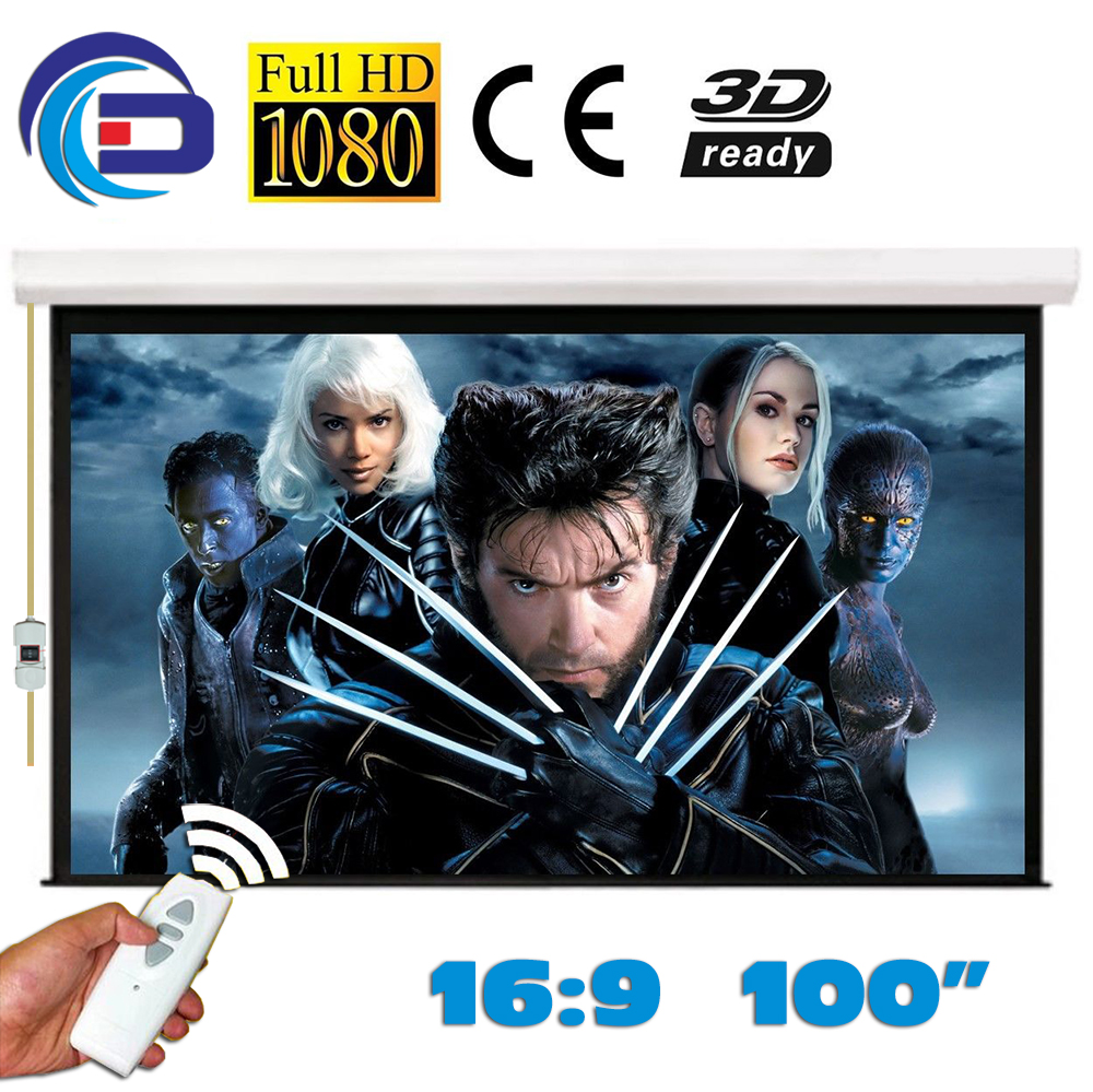 HD Electric Projector Screen 100 inch 16:9 Motorized Projection Screen pantalla proyeccion Matt White for LED LCD HD Movie