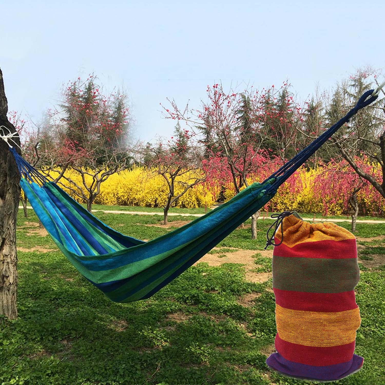 Portable Outdoor Leisure 120kg Load Single Person Canvas Stripe Hammocks Camping Hammock with Storage Bag