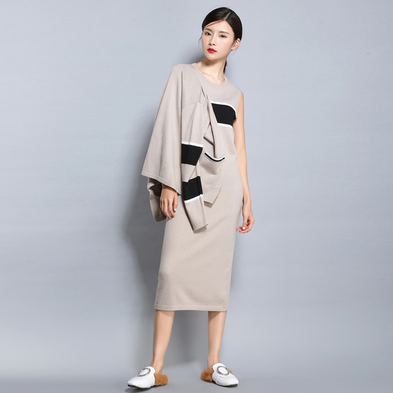 LHZSYY 2017 Spring and autumn NEW Cashmere blended knit dress Cashmere Sweater short jacket Cardigan Long skirt Two pieces Set