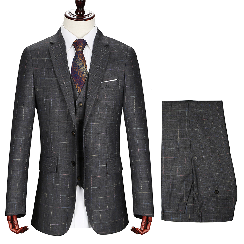 Top Quality Mens Plaid Suits Cajerin Men Clothing Polyester Formal