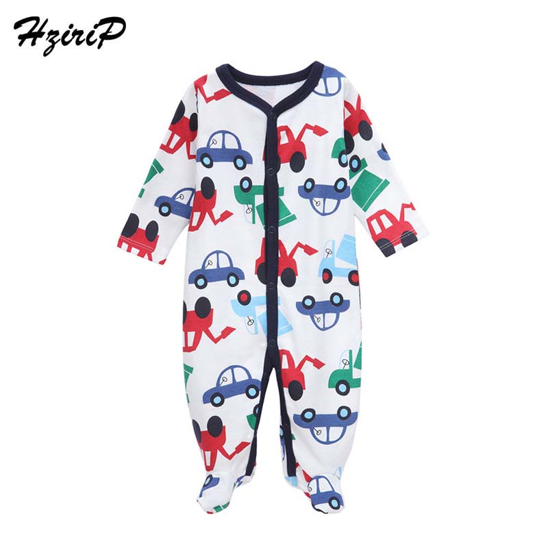HziriP 2017 New Baby Rompers Cartoon Car Long Sleeves Soft 100%Cotton Newborn Girls BoysClothing Fashion Infant Pajamas Clothes