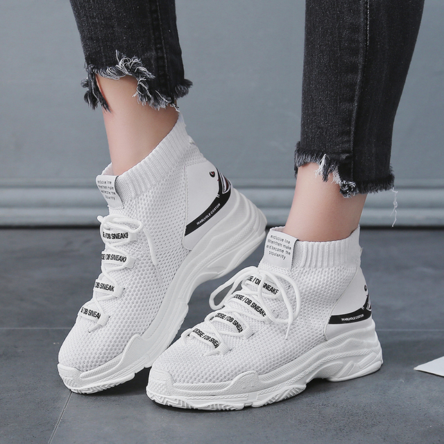 Высокие ботильоны для женщин кроссовки легкие тканевые спортивная женская обувь спортивная с рисунком акулы увеличивающие рост прогулочные