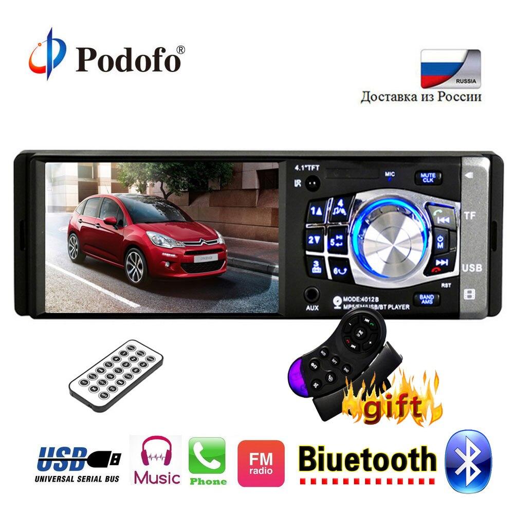 Podofo 1 Дин радио авто 4,1 дюймов HD Автомобильный мультимедийный плеер MP3 MP5 аудио стерео радио Bluetooth USB AUX FM дистанционного Управление