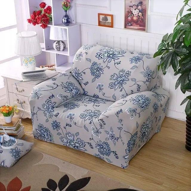 Spandex Stretch Brisk Blaue Blume Sofa Abdeckung Große Elastizität 100%  Polyester Sofa Möbel Abdeckung