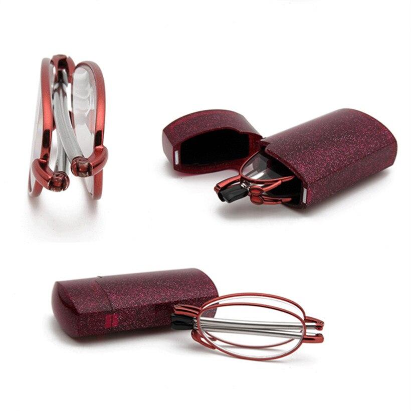 Women's Folding Reading Glasses Metal Frame Portable Stretching Feet Glasses Ultralight Design Presbyopic Eyeglasses for Female