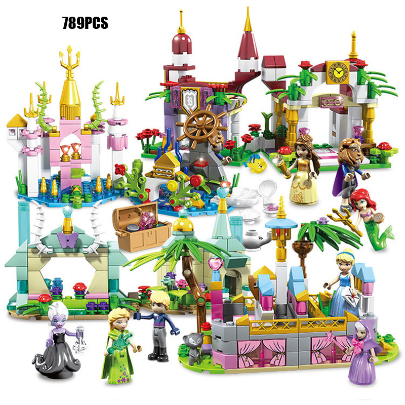 2019 Fairy Tale Princess Castle Block Ariel Mermaid Snow Queen Elsa Beauty And Beast Belle Cinderella Figures Toys For Girl Gift