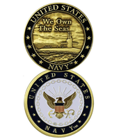 U.S. Navy We Own The Seas Challenge Coin The United States Navy gold plated coins, 50/100/200pcs/lot, DHL free shipping