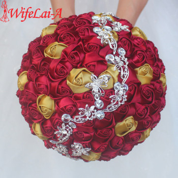 WifeLai-A Burgundy Gold Rose Wedding Bouquet Butterfly Crystal Diamonds Brooch Bridal Mariage Stitch Bride Wedding Flowers W2216