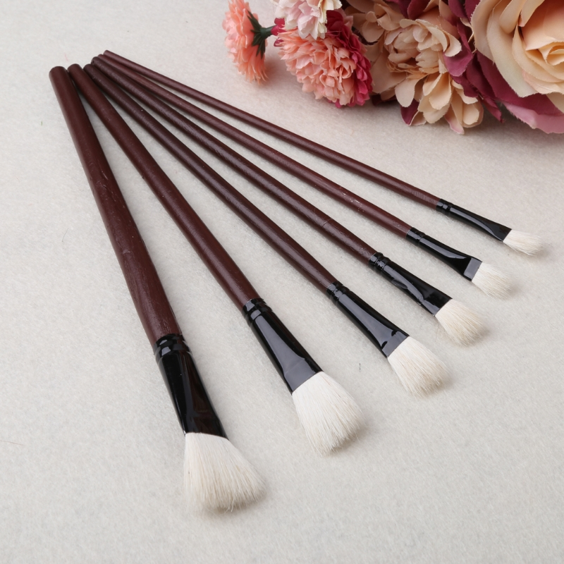 6Pcs Flat Painting Brushes Set Artist Wool Hair Watercolor Acrylic Oil Drawing