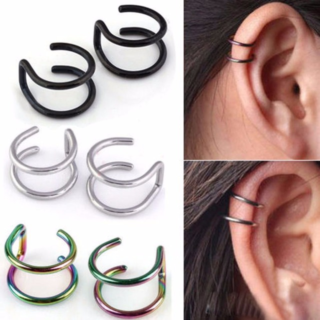 Fashion Gothic Gold Silver Tone Mixed Stainless Steel Women Ear Climber Clip On Earrings Without Piercing Cuff Jewelry